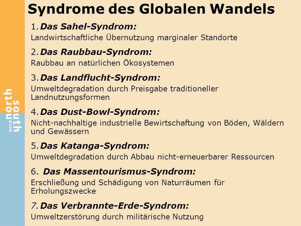1.Das Sahel-Syndrom: Landwirtschaftliche Übernutzung marginaler Standorte 2.Das Raubbau-Syndrom: Raubbau an natürlichen Ökosystemen 3.Das Landflucht-S