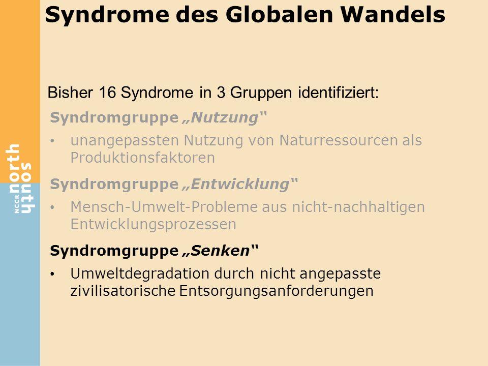 """Bisher 16 Syndrome in 3 Gruppen identifiziert: Syndrome des Globalen Wandels Syndromgruppe """"Nutzung"""" unangepassten Nutzung von Naturressourcen als Pro"""