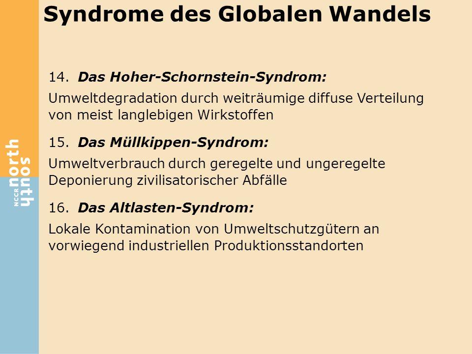 14.Das Hoher-Schornstein-Syndrom: Umweltdegradation durch weiträumige diffuse Verteilung von meist langlebigen Wirkstoffen 15.Das Müllkippen-Syndrom: