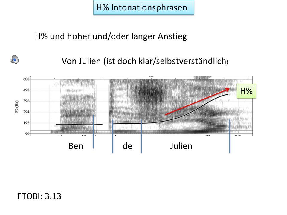 H% Intonationsphrasen Hoher/langer Anstieg im letzten Wort der Phrase Jeanse présenteà laMairie (verleiht etwas Unglaubwürdigkeit) H% F-TOBI Fig.