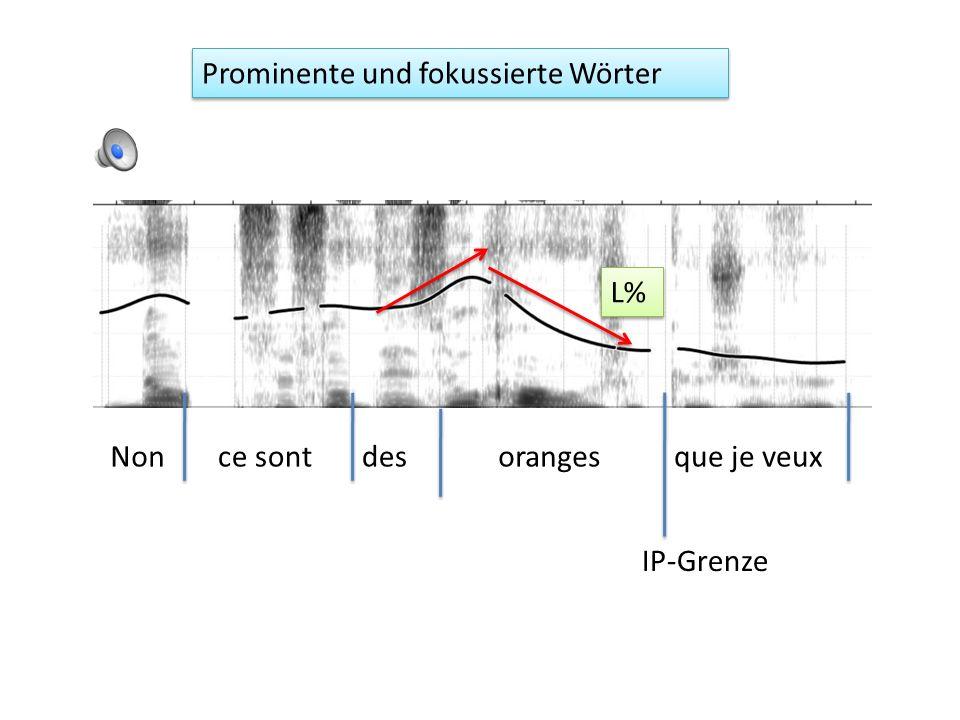 Prominente und fokussierte Wörter Im Deutschen können eng fokussierte Wörter an jeder Position im Satz vorkommen.