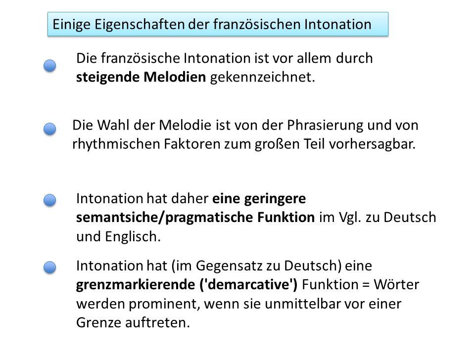 Einige Eigenschaften der französischen Prosodie Rhythmus Betonung Prosodische Einheiten Silbenzählend: eine geringere Variation in der Vokal- und daher Silbendauer im Vgl.