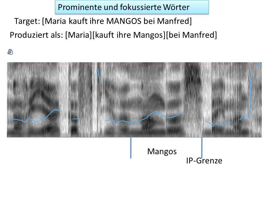 Target: [MARIA kauft ihre Mangos bei Manfred] Prominente und fokussierte Wörter Maria Produziert als: [Maria] [ kauft ihre Mangos] [ bei Manfred] IP-Grenze
