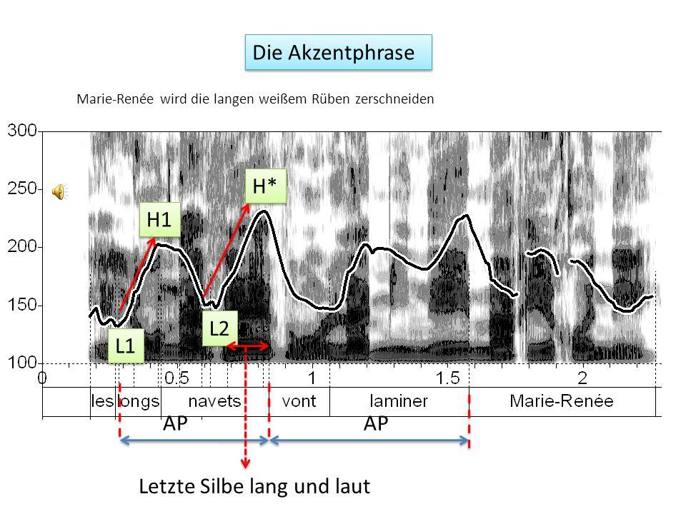 Im A-M System 1 werden die steigenden Konturen aus L und H Tönen zusammengesetzt (also ein Zwei-Ton System) Der letzte Ton der AP soll ein Tonakzent sein, und mit * etikettiert.
