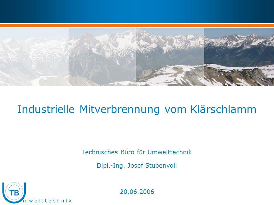 m w e l t t e c h n i k Industrielle Mitverbrennung vom Klärschlamm Technisches Büro für Umwelttechnik Dipl.-Ing.