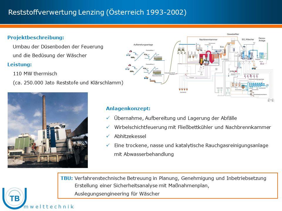 m w e l t t e c h n i k Reststoffverwertung Lenzing (Österreich 1993-2002) Projektbeschreibung: Umbau der Düsenboden der Feuerung und die Bedüsung der Wäscher Leistung: 110 MW thermisch (ca.