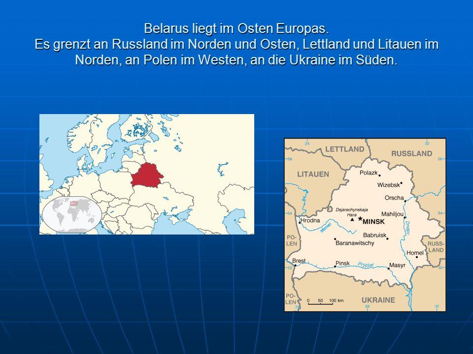 Belarus liegt im Osten Europas.