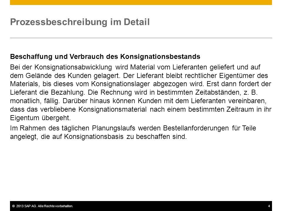 ©2013 SAP AG. Alle Rechte vorbehalten.4 Prozessbeschreibung im Detail Beschaffung und Verbrauch des Konsignationsbestands Bei der Konsignationsabwickl