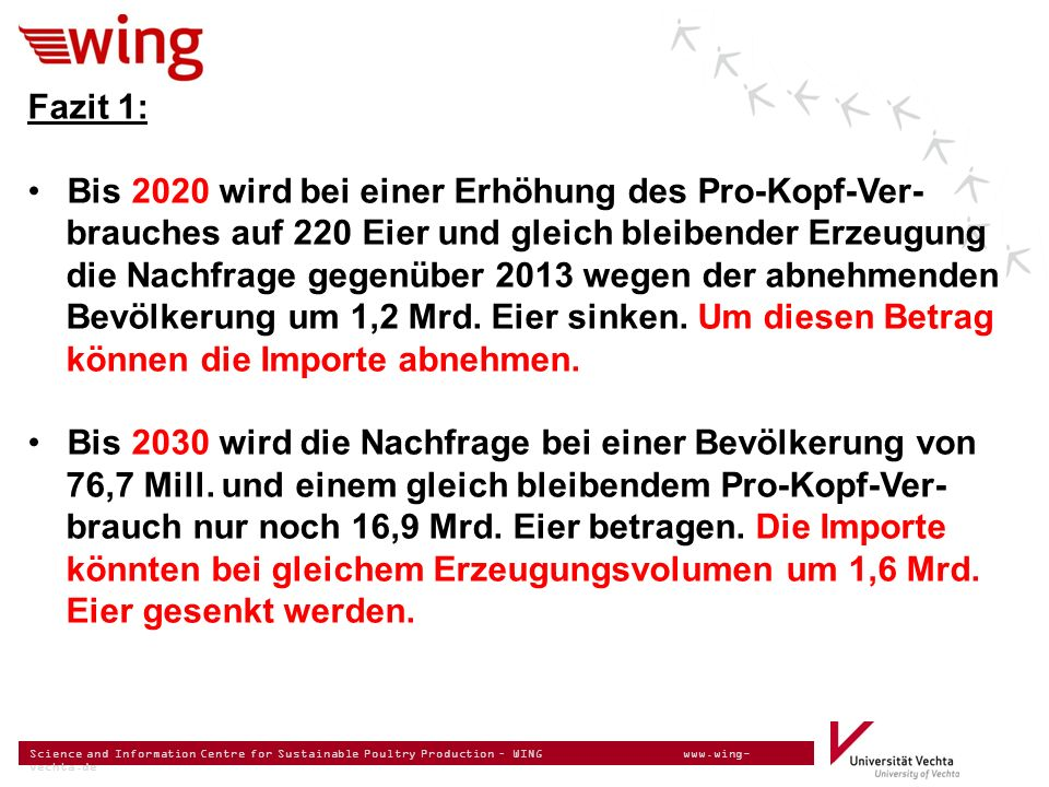 Science and Information Centre for Sustainable Poultry Production – WING www.wing- vechta.de Fazit 1: Bis 2020 wird bei einer Erhöhung des Pro-Kopf-Ve