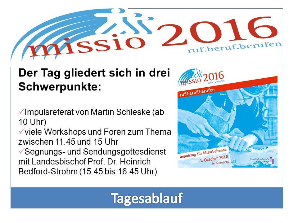 Der Tag gliedert sich in drei Schwerpunkte: Impulsreferat von Martin Schleske (ab 10 Uhr) viele Workshops und Foren zum Thema zwischen 11.45 und 15 Uh