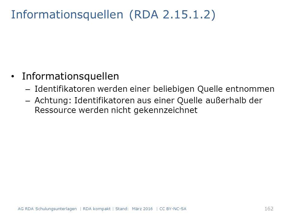 Informationsquellen (RDA 2.15.1.2) Informationsquellen – Identifikatoren werden einer beliebigen Quelle entnommen – Achtung: Identifikatoren aus einer Quelle außerhalb der Ressource werden nicht gekennzeichnet 162 AG RDA Schulungsunterlagen | RDA kompakt | Stand: März 2016 | CC BY-NC-SA