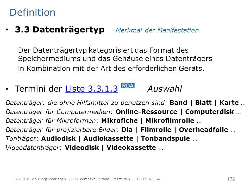 Definition 3.3 Datenträgertyp Merkmal der Manifestation Der Datenträgertyp kategorisiert das Format des Speichermediums und das Gehäuse eines Datenträgers in Kombination mit der Art des erforderlichen Geräts.