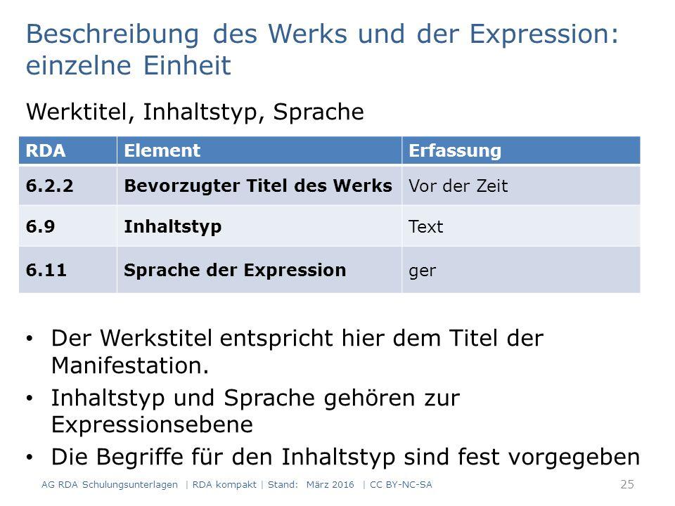 Beschreibung des Werks und der Expression: einzelne Einheit Werktitel, Inhaltstyp, Sprache Der Werkstitel entspricht hier dem Titel der Manifestation.
