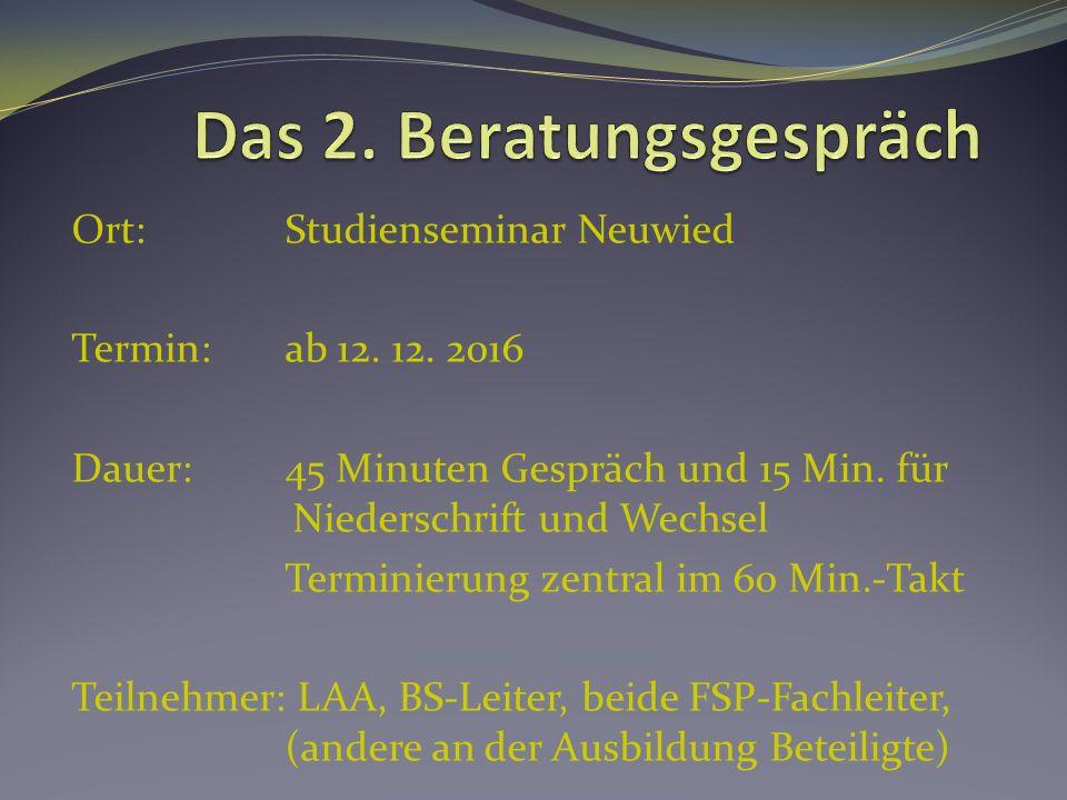 Ort: Studienseminar Neuwied Termin:ab 12. 12. 2016 Dauer:45 Minuten Gespräch und 15 Min.
