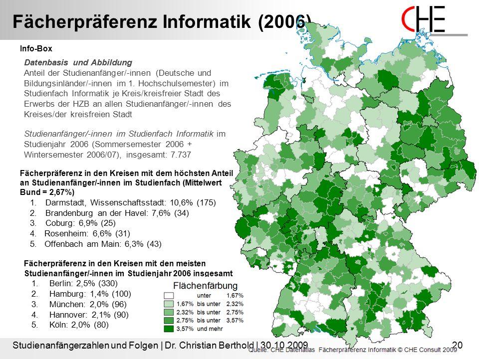 Fächerpräferenz Informatik (2006) Studienanfängerzahlen und Folgen | Dr. Christian Berthold | 30.10.200920 Info-Box Datenbasis und Abbildung Anteil de