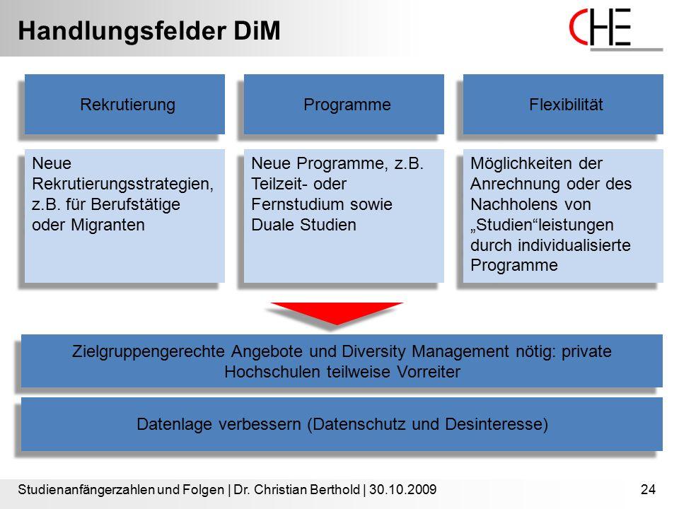 Handlungsfelder DiM Studienanfängerzahlen und Folgen | Dr. Christian Berthold | 30.10.200924 Rekrutierung Neue Rekrutierungsstrategien, z.B. für Beruf