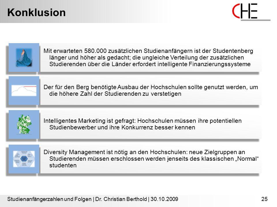 Konklusion Studienanfängerzahlen und Folgen | Dr. Christian Berthold | 30.10.200925 Mit erwarteten 580.000 zusätzlichen Studienanfängern ist der Stude