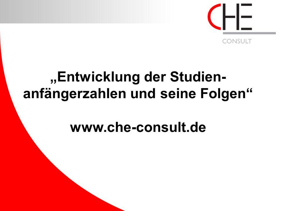 """www.che-consult.de """"Entwicklung der Studien- anfängerzahlen und seine Folgen"""" www.che-consult.de"""