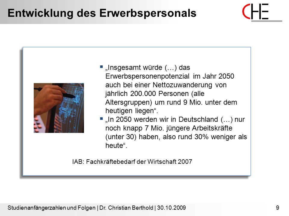 Entwicklung des Erwerbspersonals Studienanfängerzahlen und Folgen | Dr. Christian Berthold | 30.10.20099
