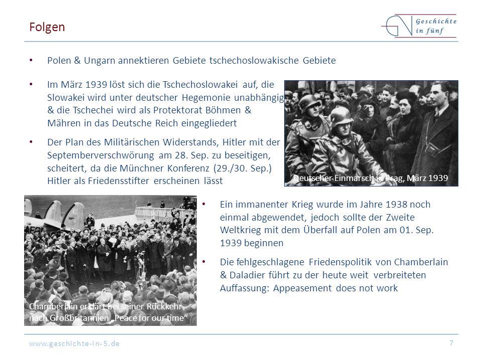 www.geschichte-in-5.de Folgen Polen & Ungarn annektieren Gebiete tschechoslowakische Gebiete 7 Deutscher Einmarsch in Prag, März 1939 Im März 1939 lös