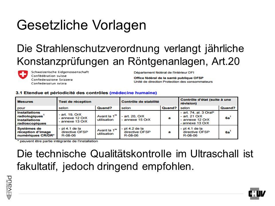 Gesetzliche Vorlagen Die Strahlenschutzverordnung verlangt jährliche Konstanzprüfungen an Röntgenanlagen, Art.20 Die technische Qualitätskontrolle im Ultraschall ist fakultatif, jedoch dringend empfohlen.