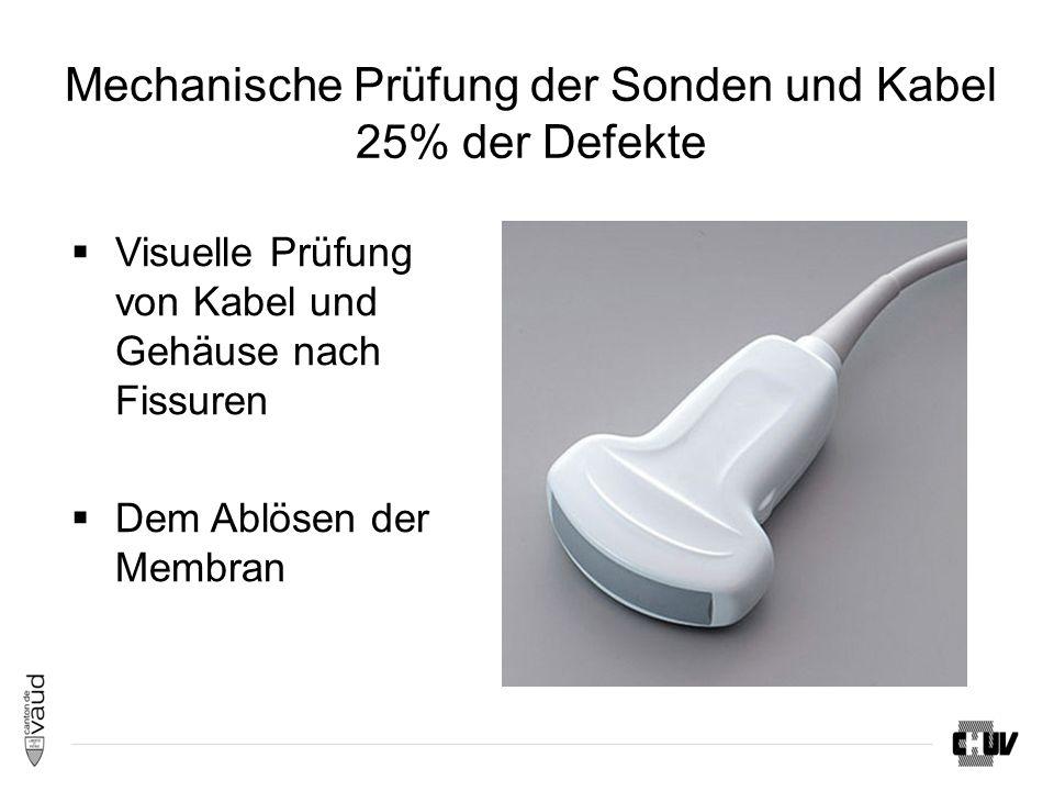 Mechanische Prüfung der Sonden und Kabel 25% der Defekte  Visuelle Prüfung von Kabel und Gehäuse nach Fissuren  Dem Ablösen der Membran