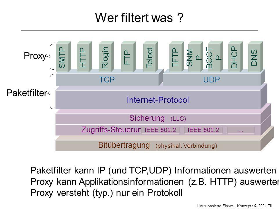 Linux-basierte Firewall Konzepte © 2001 Till Hänisch personal firewall, NAT # Nur ssh von einem Rechner iptables -A INPUT -p tcp --syn --destination-port 22 -s 217.24.3.37 -j ACCEPT # Zugriff auf Webserver iptables -A INPUT -p tcp --syn --destination-port 80 -j ACCEPT # Keine Verbindungen von aussen iptables -A INPUT -p tcp --syn -j DROP Network Address Translation (IP-Masquerading) private Adressen z.B.