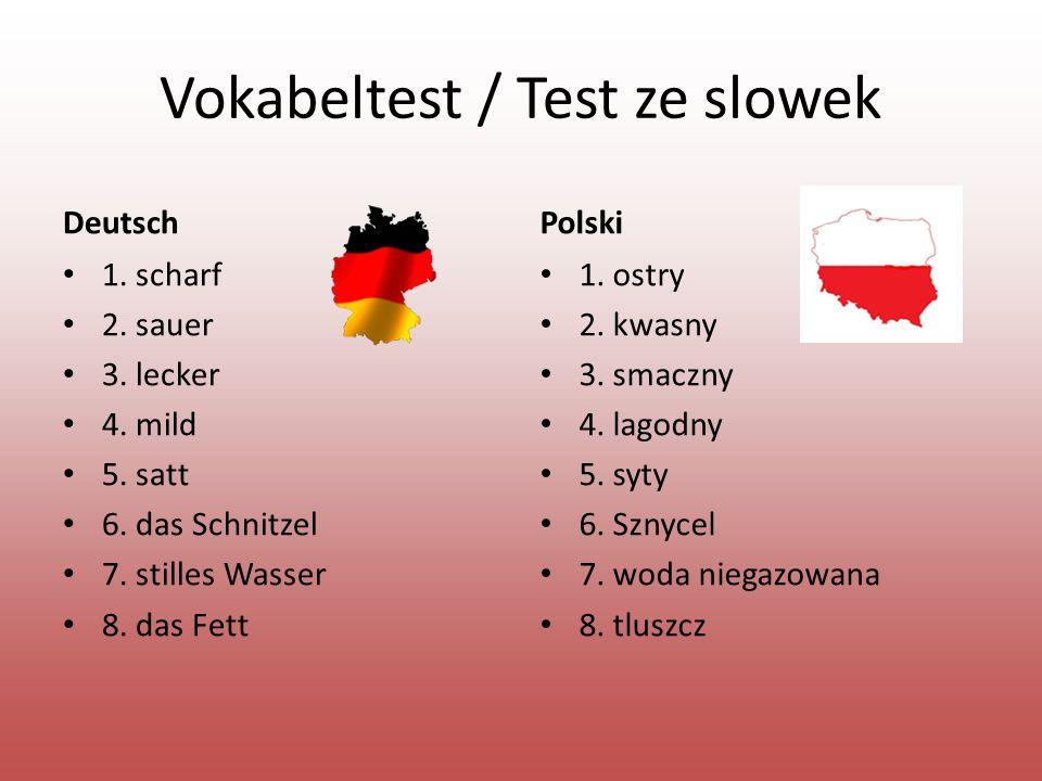 Vokabeltest / Test ze slowek DeutschPolski 1. scharf 2.