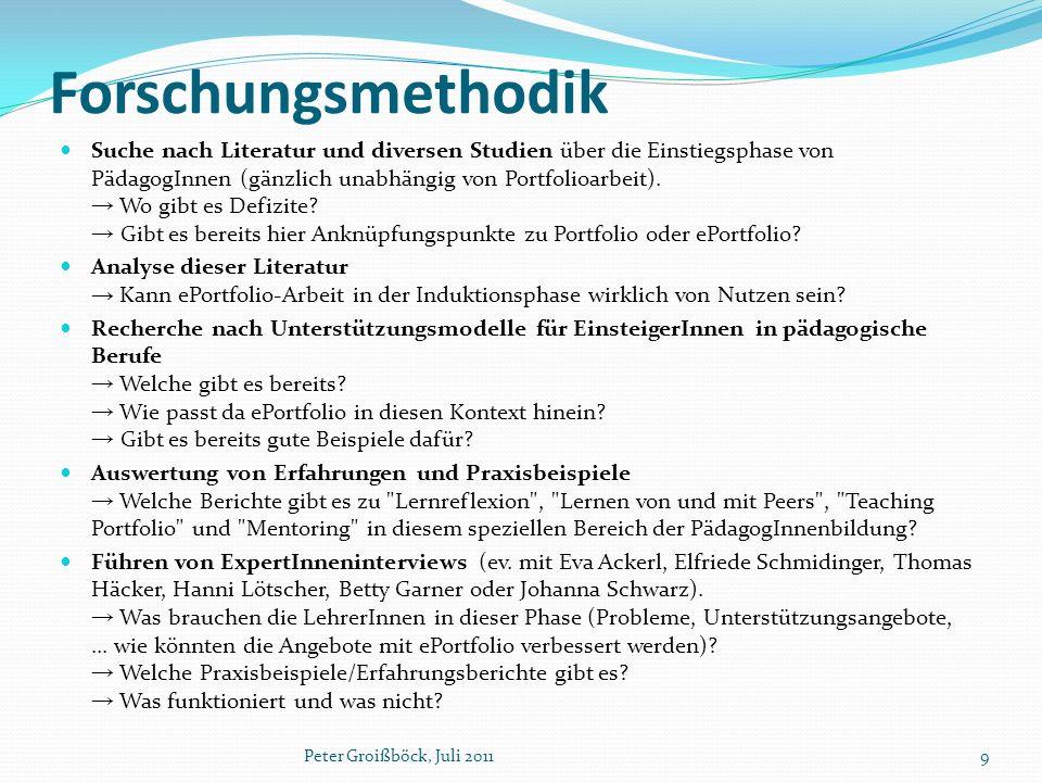 Forschungsmethodik Suche nach Literatur und diversen Studien über die Einstiegsphase von PädagogInnen (gänzlich unabhängig von Portfolioarbeit).