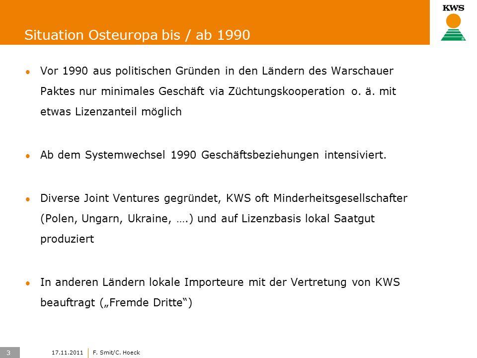 3 17.11.2011F. Smit/C. Hoeck Situation Osteuropa bis / ab 1990 Vor 1990 aus politischen Gründen in den Ländern des Warschauer Paktes nur minimales Ges