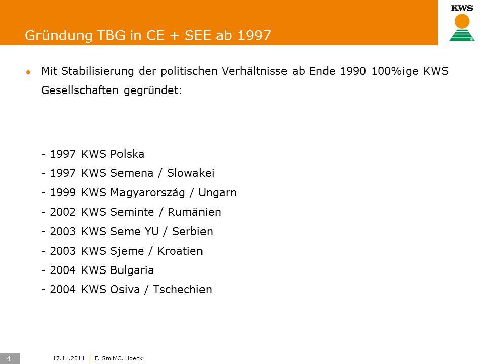4 17.11.2011F. Smit/C. Hoeck Gründung TBG in CE + SEE ab 1997 Mit Stabilisierung der politischen Verhältnisse ab Ende 1990 100%ige KWS Gesellschaften