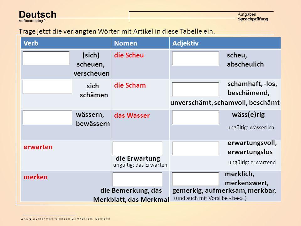 Deutsch Aufgaben Sprachprüfung Aufbautraining 9 ZKM© Aufnahmeprüfungen Gymnasien, Deutsch VerbNomenAdjektiv die Scheu die Schams das Wasser erwarten merken Trage jetzt die verlangten Wörter mit Artikel in diese Tabelle ein.