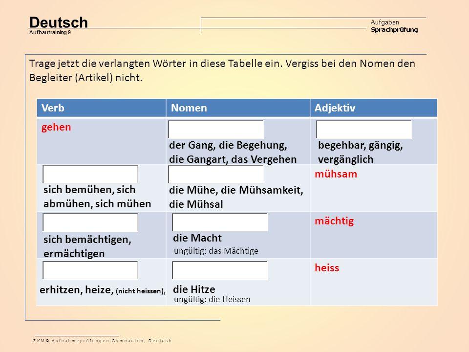 Deutsch Aufgaben Sprachprüfung Aufbautraining 9 ZKM© Aufnahmeprüfungen Gymnasien, Deutsch VerbNomenAdjektiv gehen mühsam mächtig heiss Trage jetzt die verlangten Wörter in diese Tabelle ein.