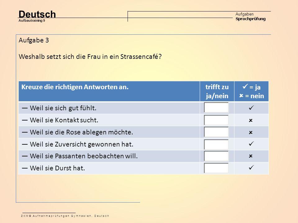 Deutsch Aufgaben Sprachprüfung Aufbautraining 9 ZKM© Aufnahmeprüfungen Gymnasien, Deutsch Aufgabe 3 Weshalb setzt sich die Frau in ein Strassencafé.