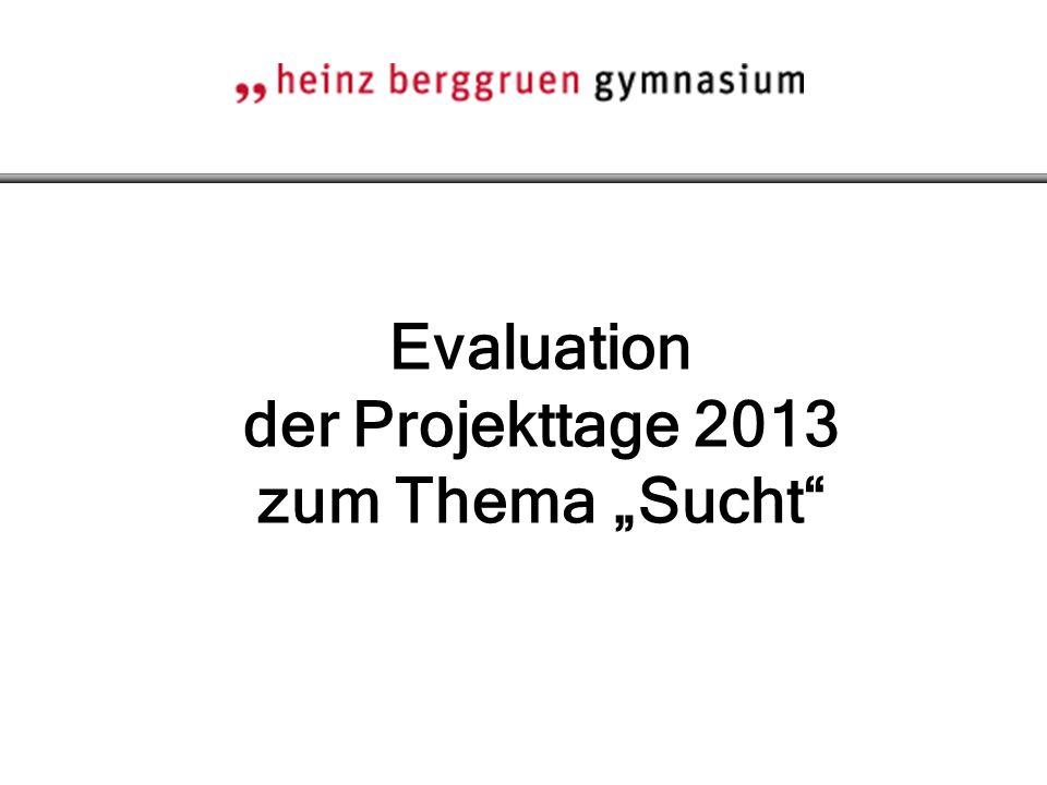 """Evaluation der Projekttage 2013 zum Thema """"Sucht"""""""