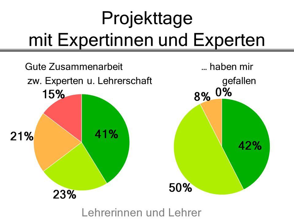 Projekttage mit Expertinnen und Experten Gute Zusammenarbeit… haben mir zw. Experten u. Lehrerschaft gefallen Lehrerinnen und Lehrer