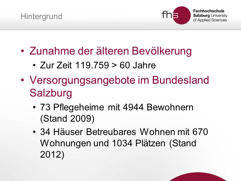 Hintergrund Zunahme der älteren Bevölkerung Zur Zeit 119.759 > 60 Jahre Versorgungsangebote im Bundesland Salzburg 73 Pflegeheime mit 4944 Bewohnern (Stand 2009) 34 Häuser Betreubares Wohnen mit 670 Wohnungen und 1034 Plätzen (Stand 2012)