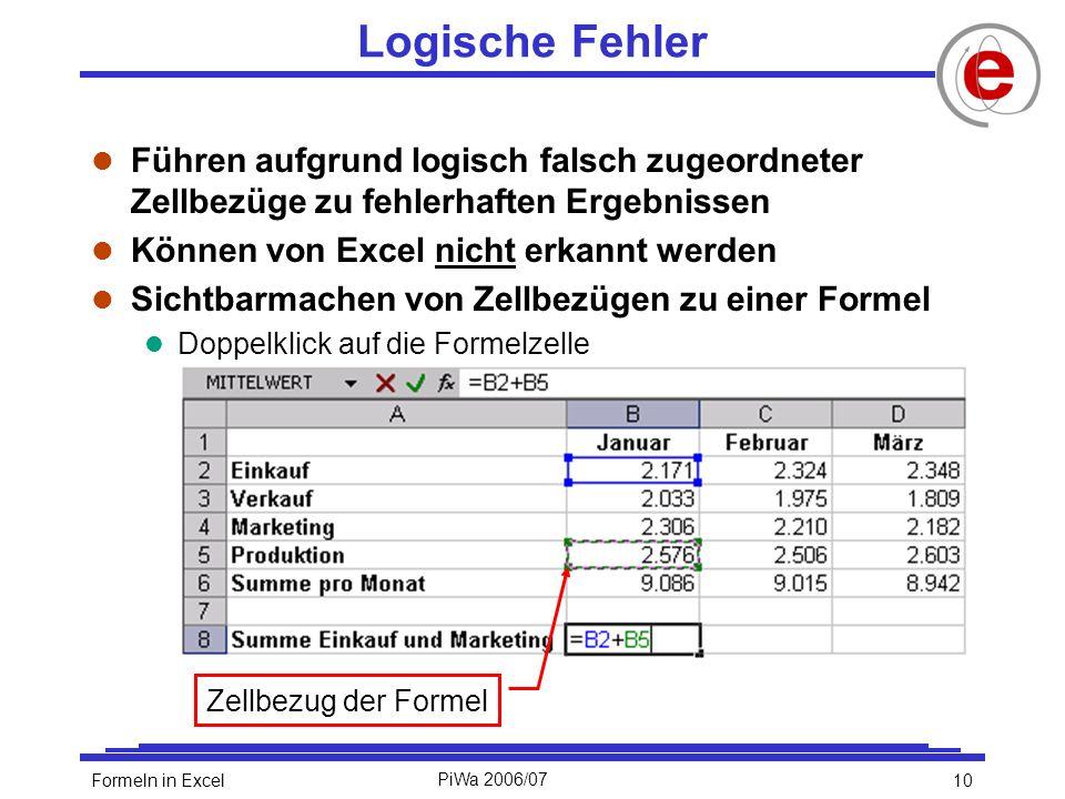 10Formeln in ExcelPiWa 2006/07 Logische Fehler l Führen aufgrund logisch falsch zugeordneter Zellbezüge zu fehlerhaften Ergebnissen l Können von Excel nicht erkannt werden l Sichtbarmachen von Zellbezügen zu einer Formel l Doppelklick auf die Formelzelle Zellbezug der Formel