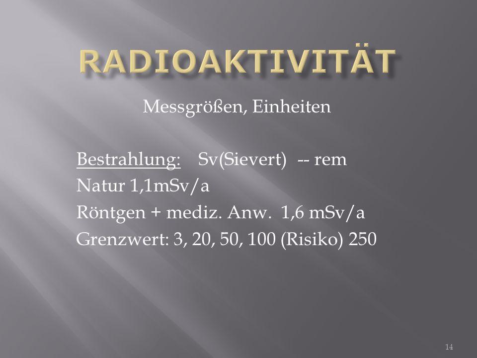 Bestrahlung: Sv(Sievert) -- rem Natur 1,1mSv/a Röntgen + mediz. Anw. 1,6 mSv/a Grenzwert: 3, 20, 50, 100 (Risiko) 250 Messgrößen, Einheiten 14