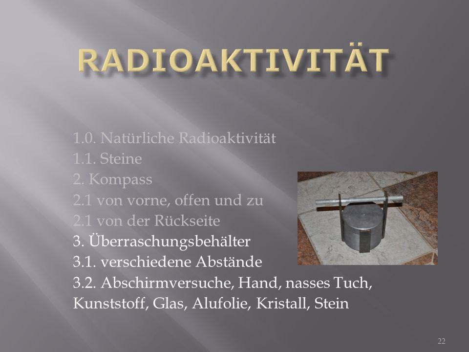22 1.0. Natürliche Radioaktivität 1.1. Steine 2. Kompass 2.1 von vorne, offen und zu 2.1 von der Rückseite 3. Überraschungsbehälter 3.1. verschiedene