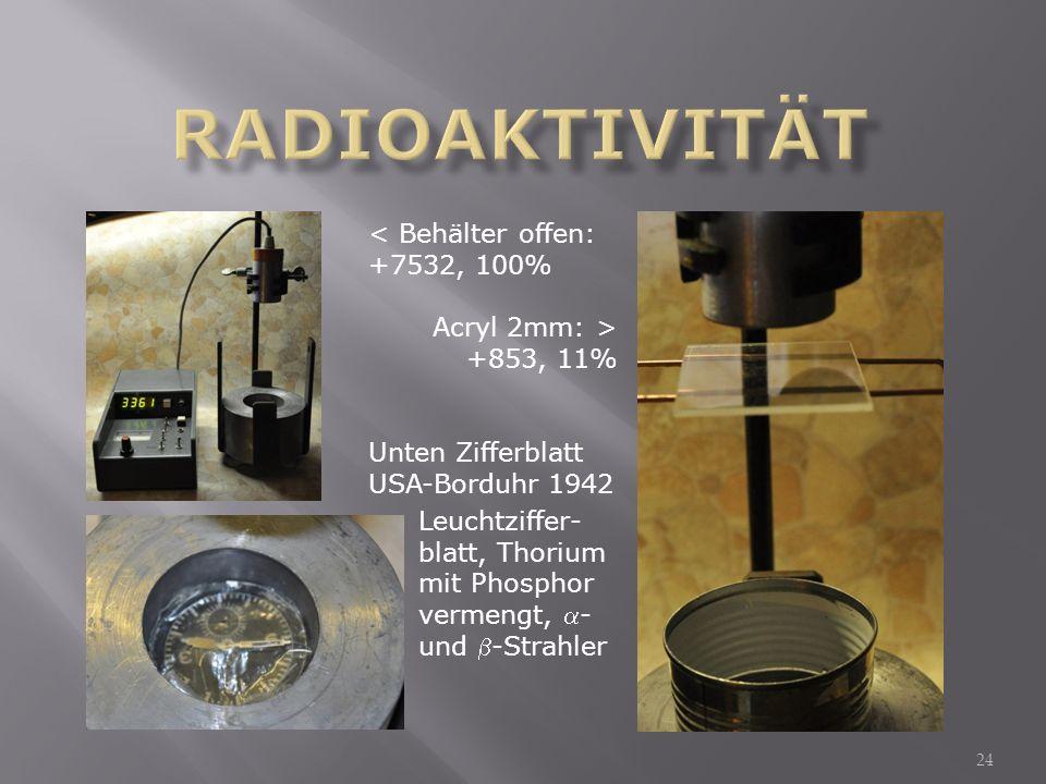24 < Behälter offen: +7532, 100% Acryl 2mm: > +853, 11% Unten Zifferblatt USA-Borduhr 1942 Leuchtziffer- blatt, Thorium mit Phosphor vermengt, - und