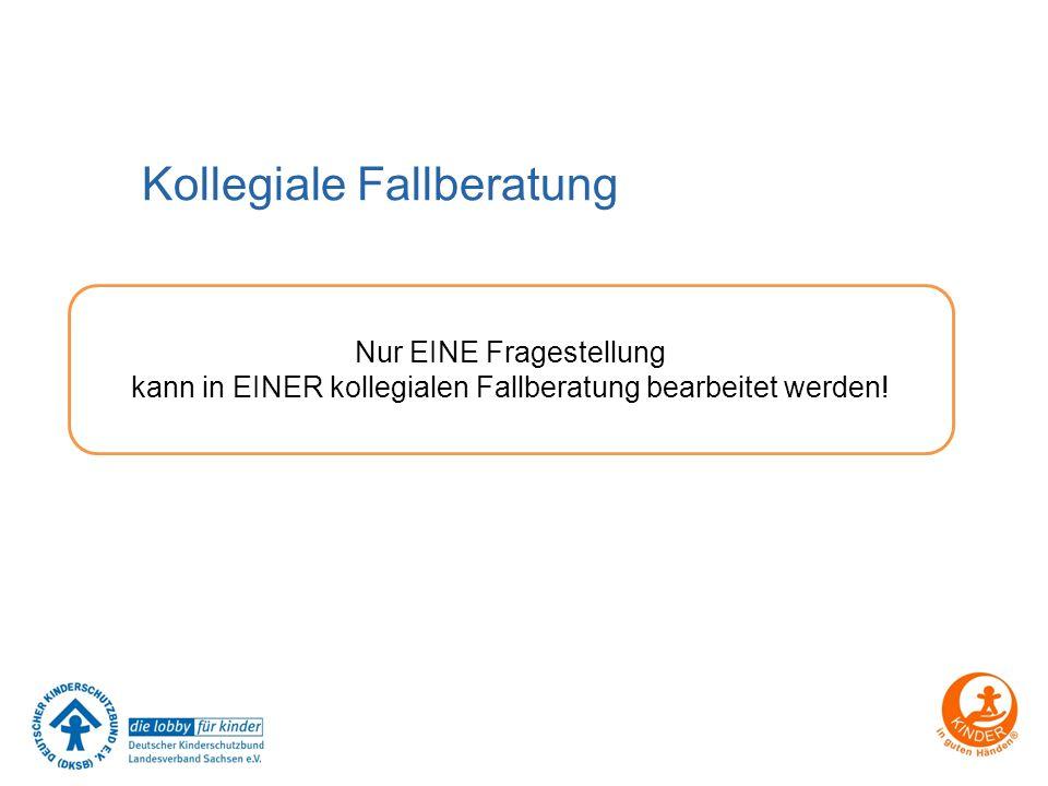 Kollegiale Fallberatung Nur EINE Fragestellung kann in EINER kollegialen Fallberatung bearbeitet werden!