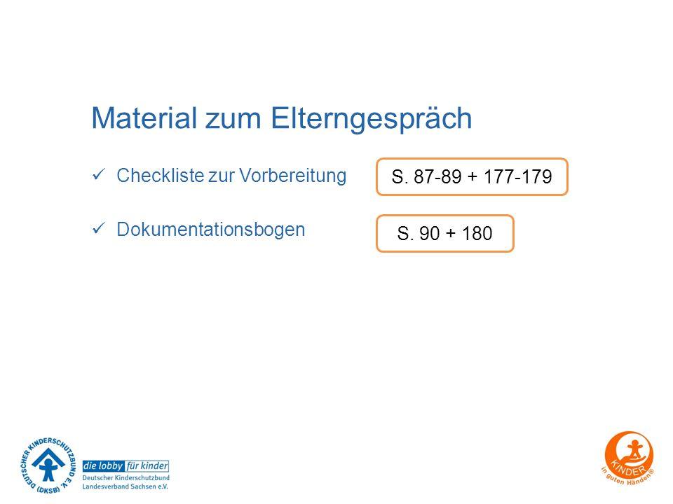 Material zum Elterngespräch Checkliste zur Vorbereitung Dokumentationsbogen S. 87-89 + 177-179 S. 90 + 180