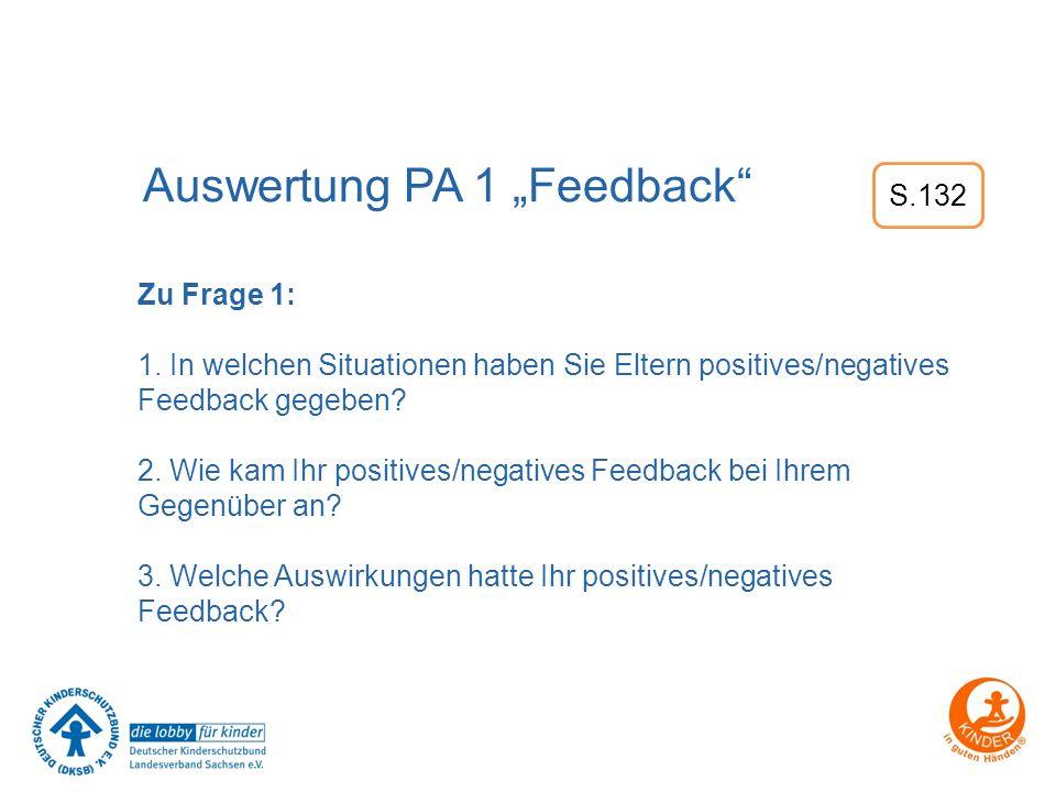 """Auswertung PA 1 """"Feedback"""" Zu Frage 1: 1. In welchen Situationen haben Sie Eltern positives/negatives Feedback gegeben? 2. Wie kam Ihr positives/negat"""