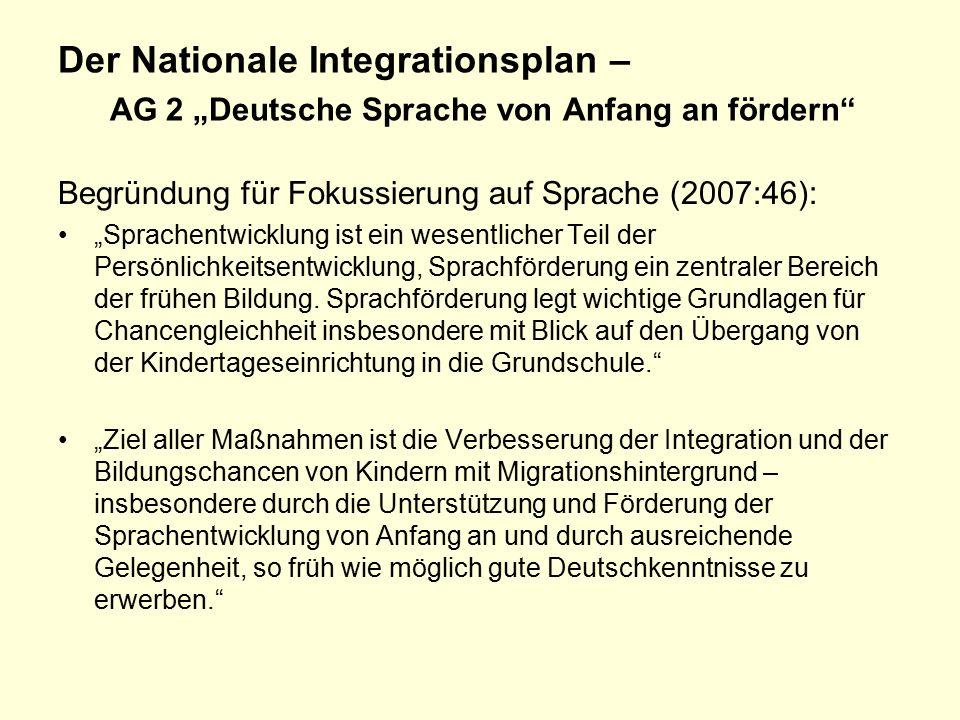 """Der Nationale Integrationsplan – AG 2 """"Deutsche Sprache von Anfang an fördern Begründung für Fokussierung auf Sprache (2007:46): """"Sprachentwicklung ist ein wesentlicher Teil der Persönlichkeitsentwicklung, Sprachförderung ein zentraler Bereich der frühen Bildung."""