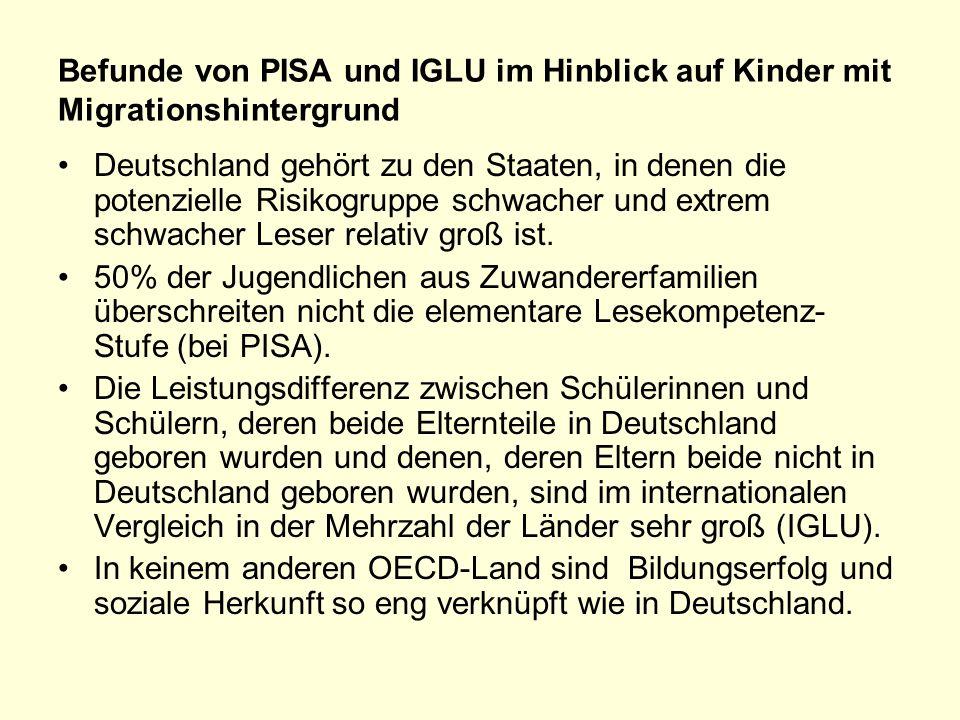 Befunde von PISA und IGLU im Hinblick auf Kinder mit Migrationshintergrund Deutschland gehört zu den Staaten, in denen die potenzielle Risikogruppe schwacher und extrem schwacher Leser relativ groß ist.