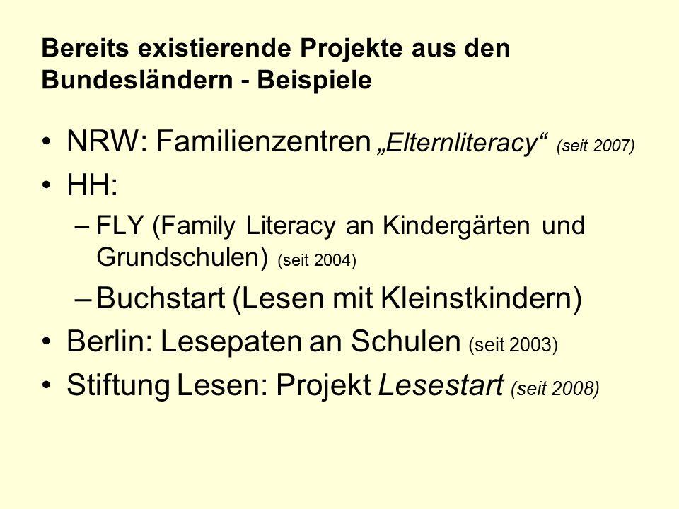 """Bereits existierende Projekte aus den Bundesländern - Beispiele NRW: Familienzentren """"Elternliteracy (seit 2007) HH: –FLY (Family Literacy an Kindergärten und Grundschulen) (seit 2004) –Buchstart (Lesen mit Kleinstkindern) Berlin: Lesepaten an Schulen (seit 2003) Stiftung Lesen: Projekt Lesestart (seit 2008)"""