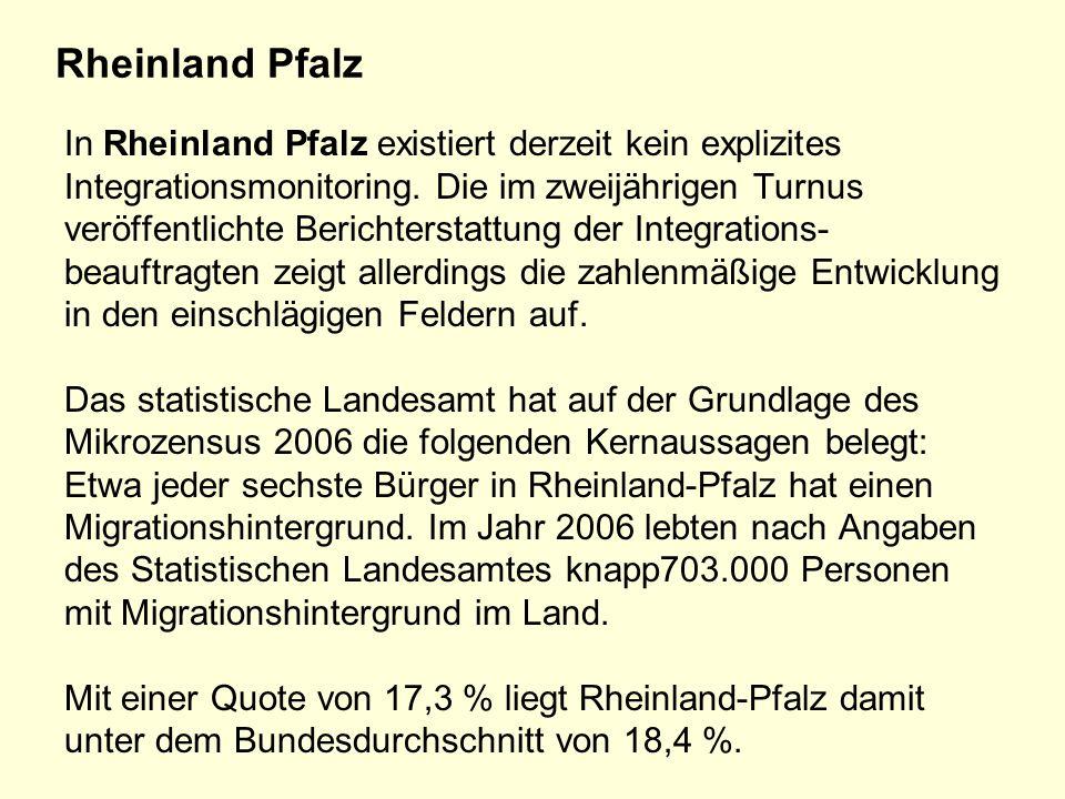 Rheinland Pfalz In Rheinland Pfalz existiert derzeit kein explizites Integrationsmonitoring.