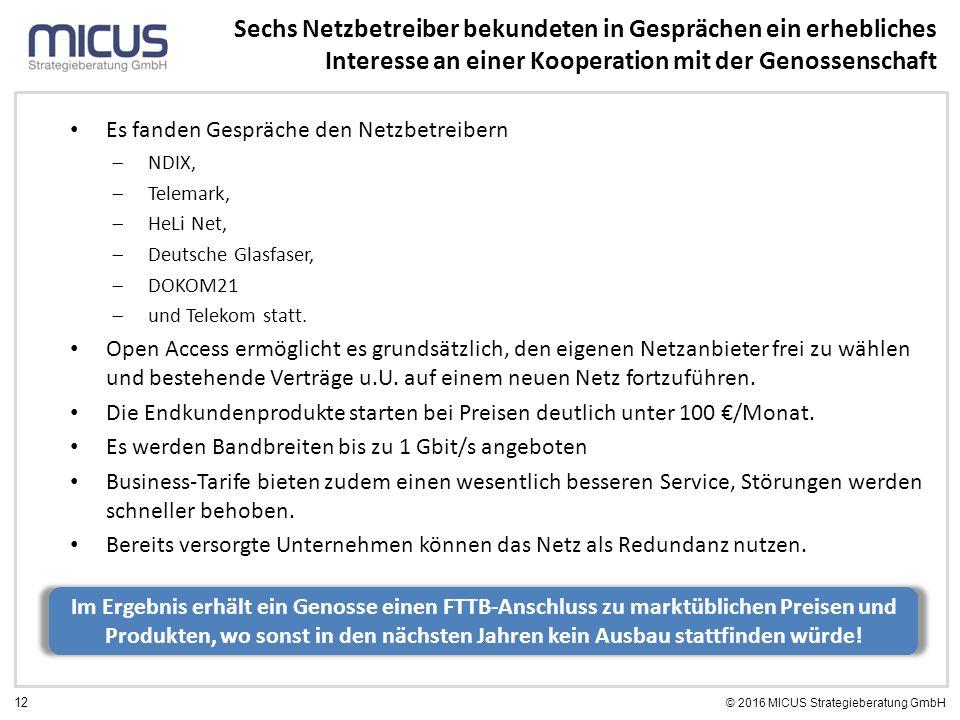 12 © 2016 MICUS Strategieberatung GmbH Sechs Netzbetreiber bekundeten in Gesprächen ein erhebliches Interesse an einer Kooperation mit der Genossenschaft Es fanden Gespräche den Netzbetreibern  NDIX,  Telemark,  HeLi Net,  Deutsche Glasfaser,  DOKOM21  und Telekom statt.