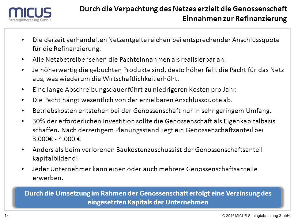 13 © 2016 MICUS Strategieberatung GmbH Durch die Verpachtung des Netzes erzielt die Genossenschaft Einnahmen zur Refinanzierung Die derzeit verhandelt